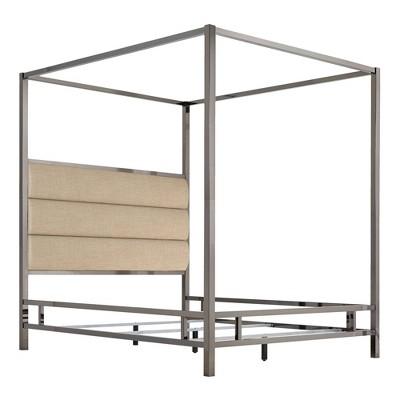 Manhattan Black Nickel Canopy Bed with Horizontal Panel Headboard - Inspire Q