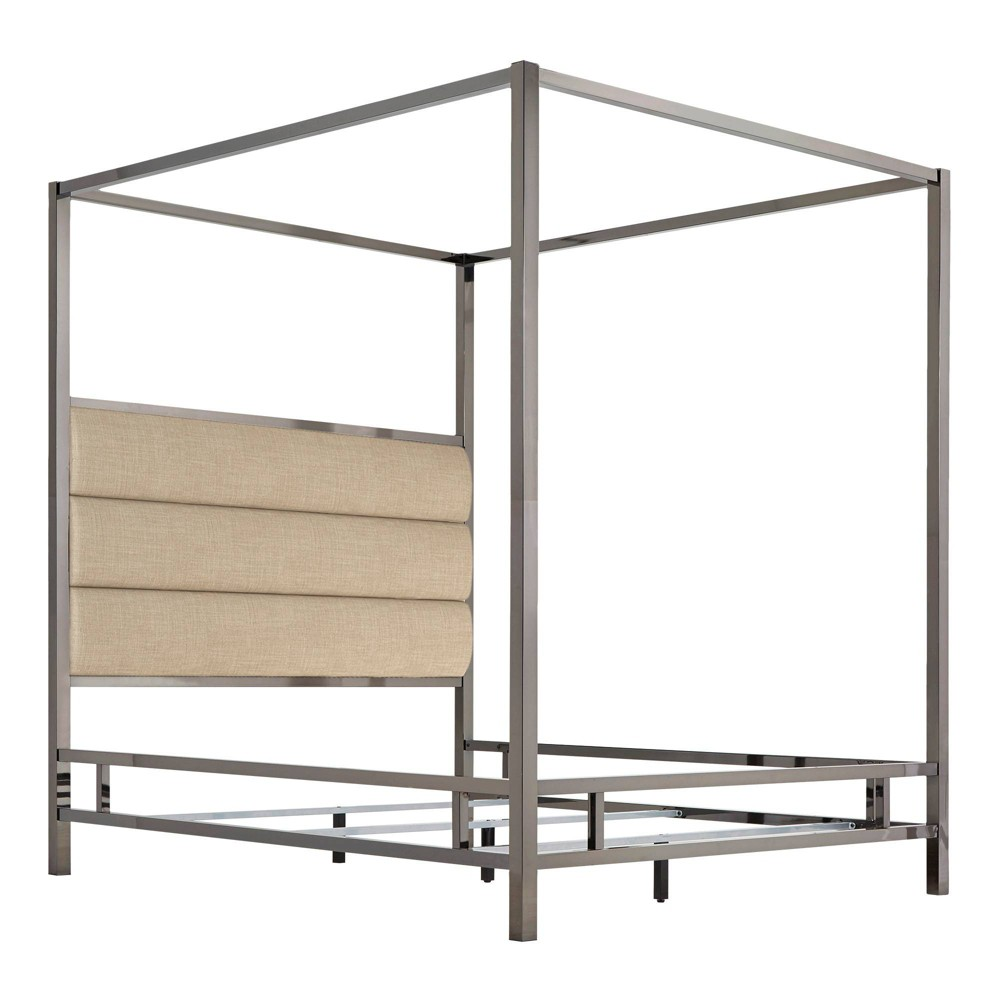 Full Manhattan Black Nickel Canopy Bed with Horizontal Panel Headboard Oatmeal Brown - Inspire Q