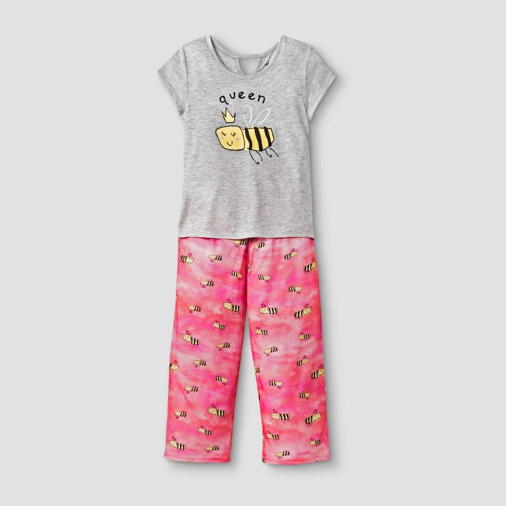 Planet Sleep Girls' Queen Bee 2pc Pajama Set - Gray/Pink XS