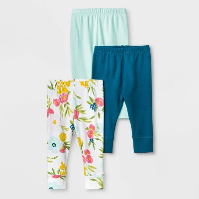 Baby Girls' 3pc Floral Fields Leggings - Cloud Island™ Mint Green 0-3M
