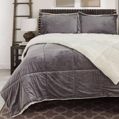 Peace Nest 3 Piece Sherpa Reversible Down Alternative Comforter Set