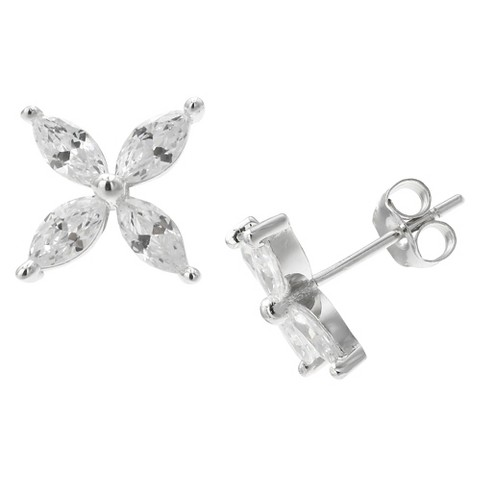 Women's Cubic Zirconia Flower Stud Earrings in Sterling Silver - Silver/Clear (10mm) - image 1 of 1