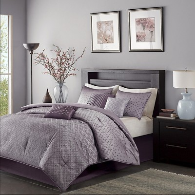 Purple Hudson Comforter Set Queen 7pc