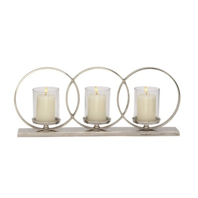 Set of 3 Contemporary Silver Aluminum/Glass Rings Light Candle Holder - Olivia & May