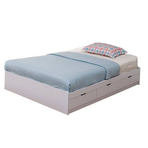 Full Chest Bed with 3 Drawers White - Benzara - image 1 of 4