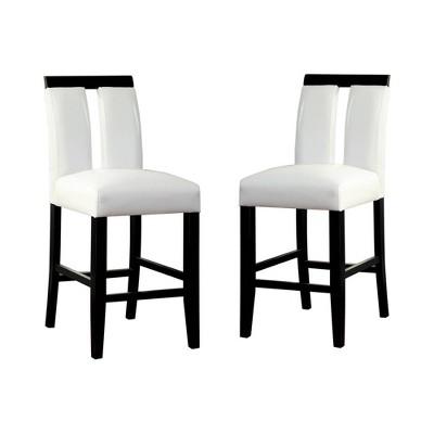 Set of 2 StevensonWhite Leatherette Padded Open Slit Back Counter Chair Black/White - HOMES: Inside + Out