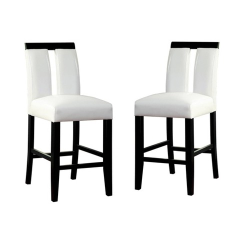 Set of 2 StevensonWhite Leatherette Padded Open Slit Back Counter Chair Black/White - ioHOMES - image 1 of 3