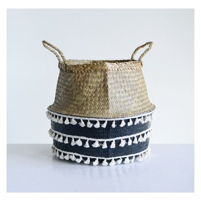 """Seagrass Collapsible Basket with White Tassels 12"""" x 15"""" Beige/Black - 3R Studios"""