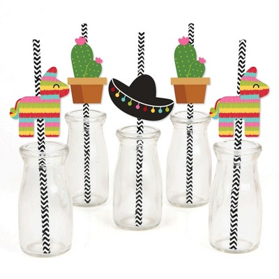 Big Dot of Happiness Let's Fiesta - Paper Straw Decor - Mexican Fiesta Party Striped Decorative Straws - Set of 24