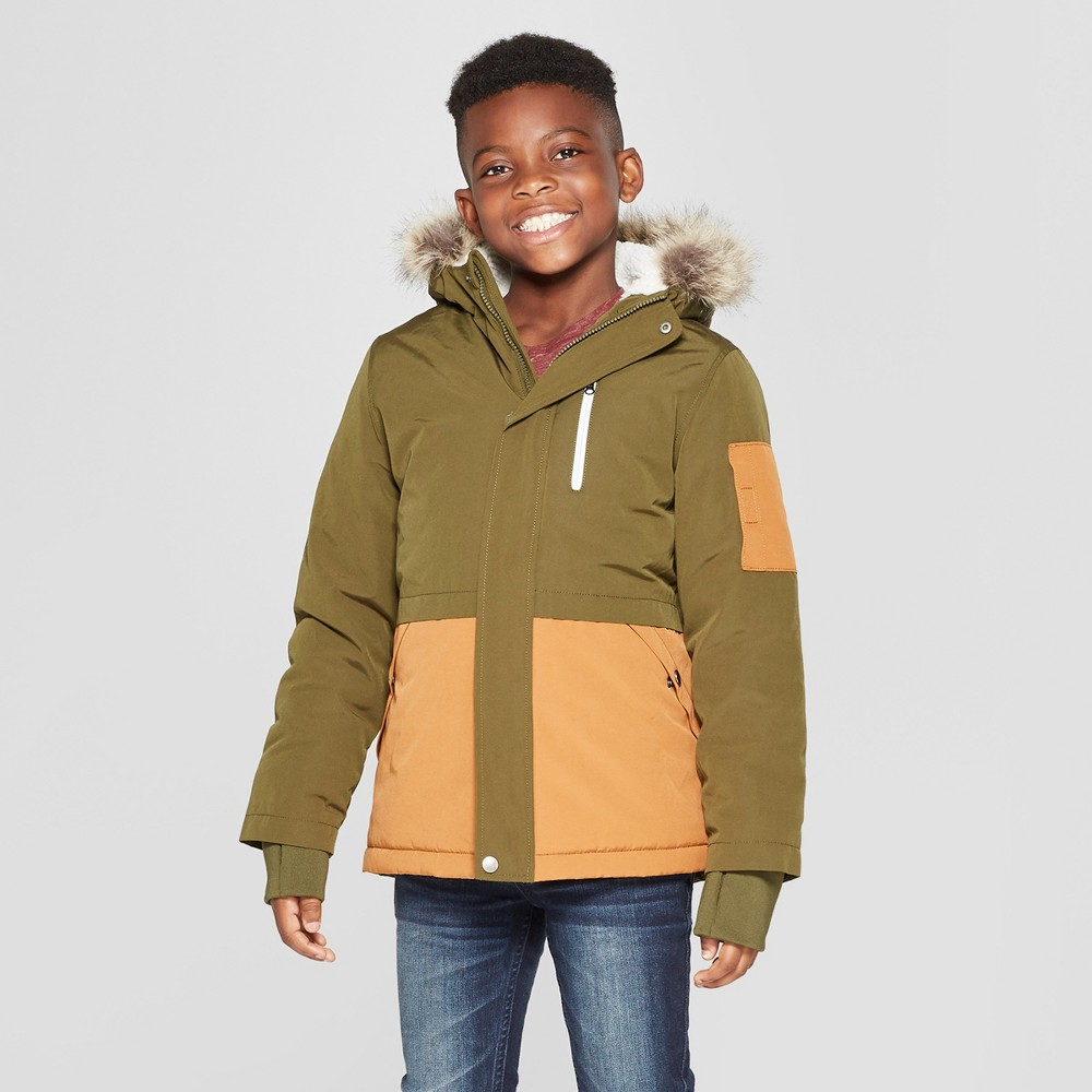 Boys' Removable Faux Fur Parka Jacket - Cat & Jack Olive XS, Green