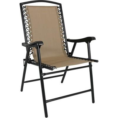 Outdoor Folding Suspension Lounge Chair   Single   Khaki   Sunnydaze Decor