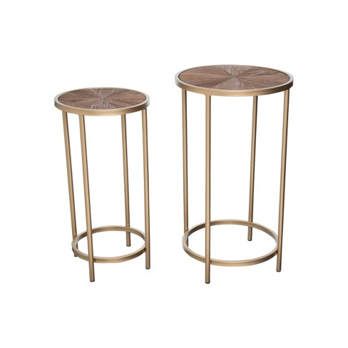 Set of 2 Wood and Brass Metal Nesting Side End Tables - Foreside Home & Garden - image 1 of 3
