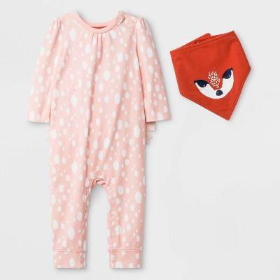 Baby Girls' Long Sleeve Romper with Bib - Cat & Jack™™ Peach 3-6M