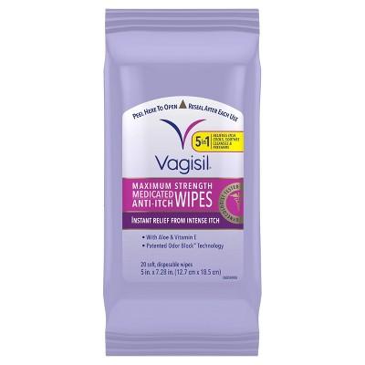 Vagisil Maximum Strength Anti-Itch Medicated Feminine Intimate Wipes - 20ct