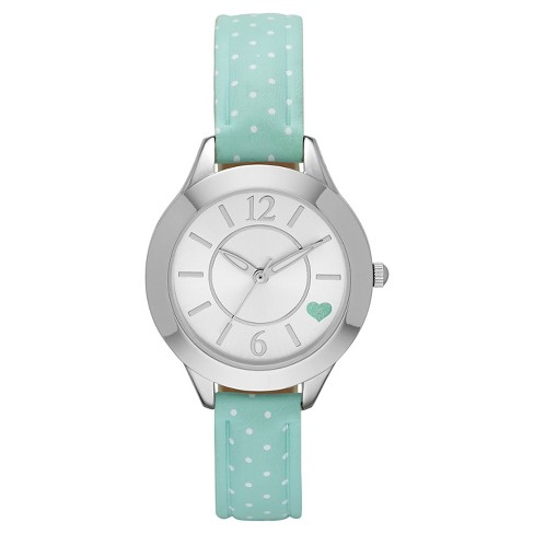 Women's Mint Strap with White Dots Watch & Silver Face - Xhilaration™ Green - image 1 of 1