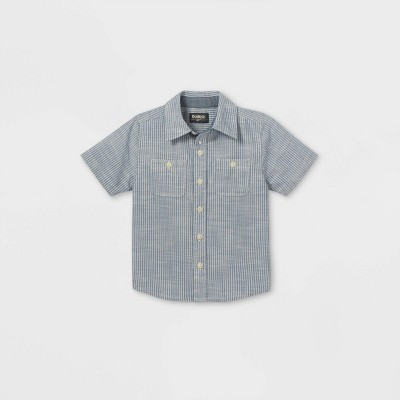 OshKosh B'gosh Toddler Boys' Chambray Striped Woven Short Sleeve Button-Down Shirt - Blue