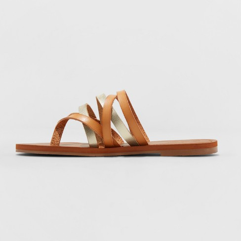 9eeabbd0db9e Women s Maritza Multi Strap Toe Slide Sandal - Universal Thread™ Tan 7.5    Target