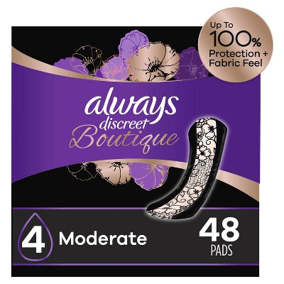 Always Discreet Boutique Incontinence and Postpartum Incontinence Pads - Moderate Absorbency - Regular Length - 48ct