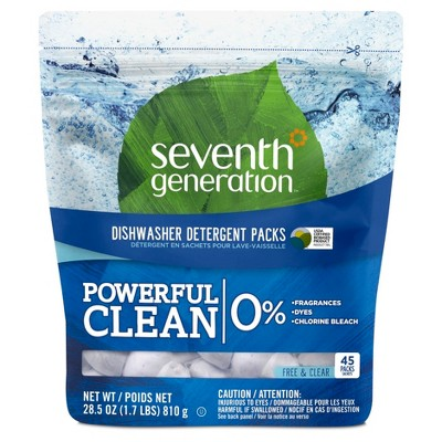 Seventh Generation™ Free & Clear Natural Dishwasher Detergent Packs - 45ct