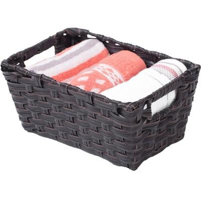 Black Plastic Wicker Shelf Basket Organizer
