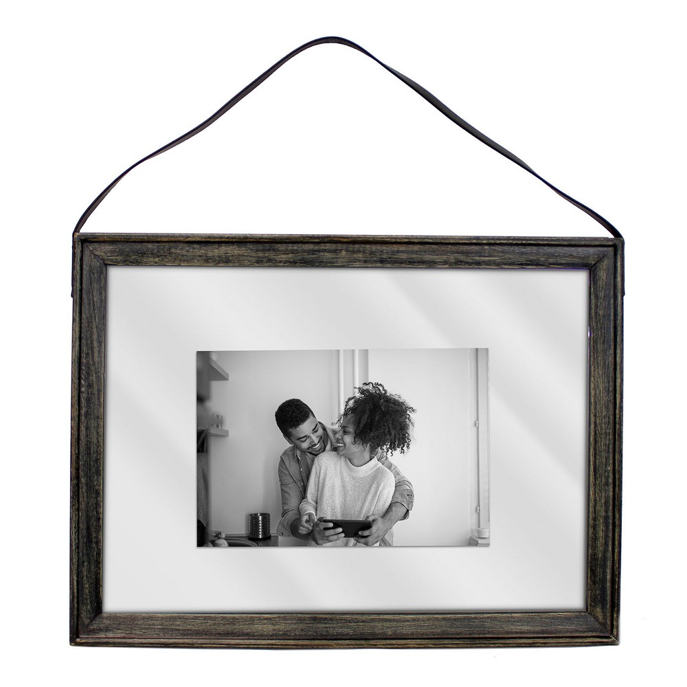 """Image of """"10""""""""X14"""""""" Matted To 4""""""""X6"""""""" Thin Wood Leather Strap Frame Black - Threshold"""""""