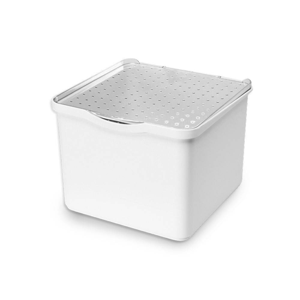 Image of Small Stacking Bin with Lid Clear/White - Madesmart