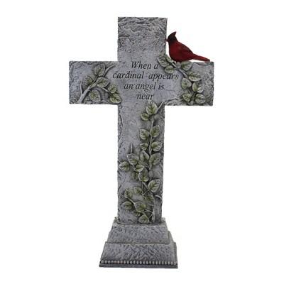 "Home & Garden 15.75"" Cardinal Memorial Cross Red Bird Yard Decor Roman, Inc  -  Outdoor Sculptures And Statues"