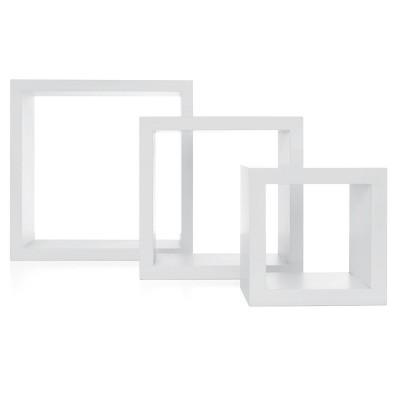 Set of 3 Cubbi Floating Wall Shelves White