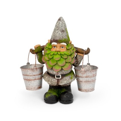 """GIL 14""""H Resin Gnome Holding two Buckets"""