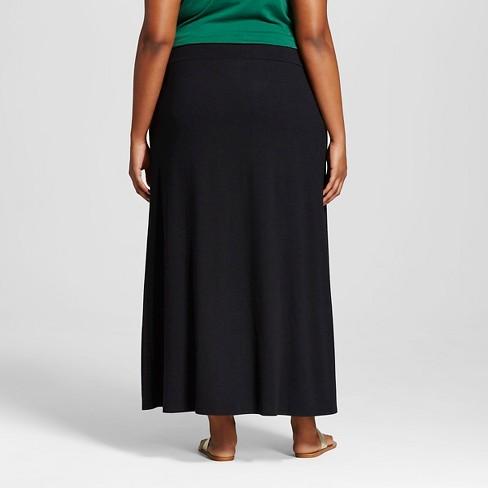 Women S Plus Size Knit Corduroy Maxi Skirt Wild Fable Black