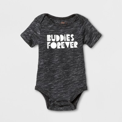 Baby Short Sleeve Buddies Forever Graphic Bodysuit - Cat & Jack™ Black 3-6M