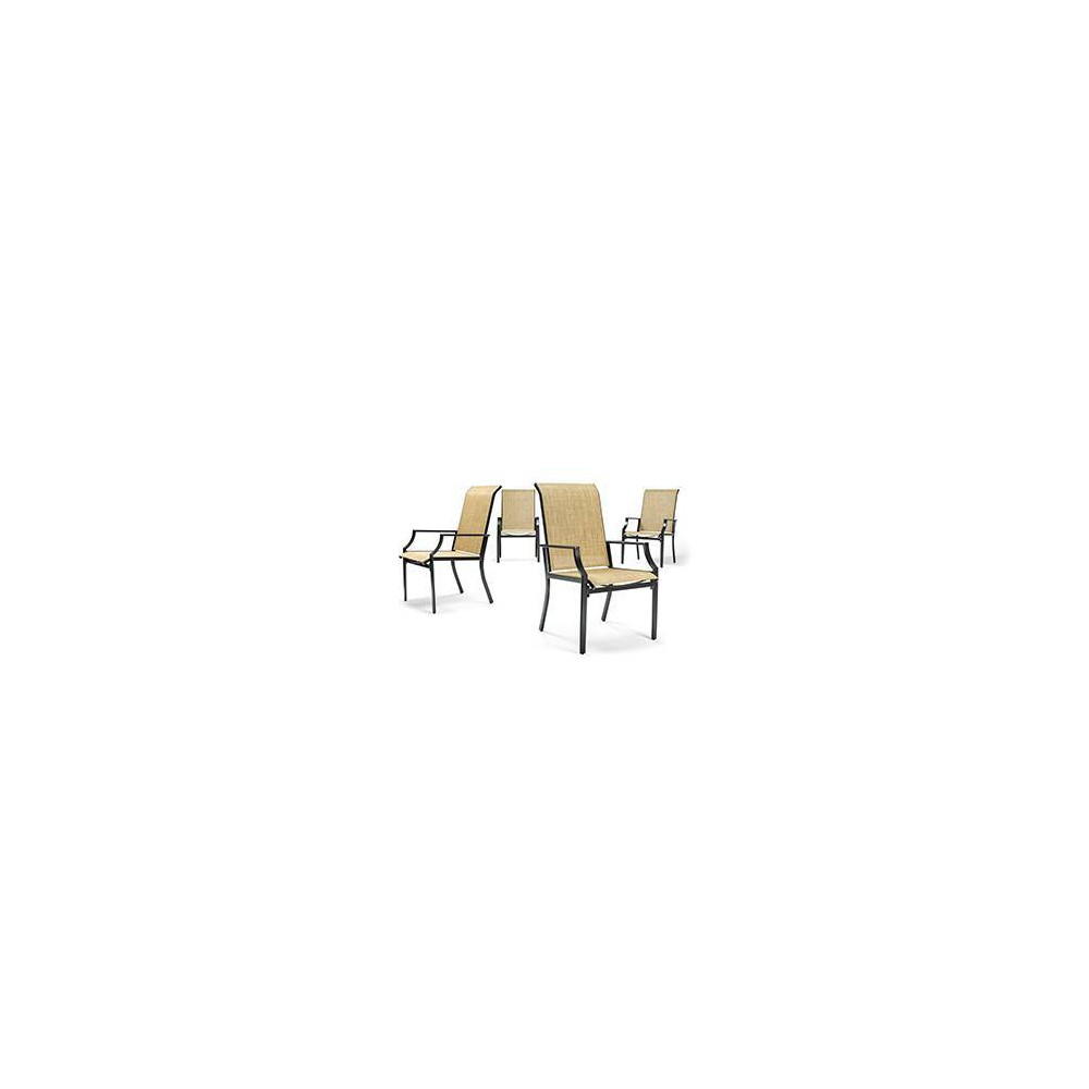 Image of Addyson 4pk Stationary Sling Outdoor Dining Chair with Burlap Sling - Brown - La-Z-Boy