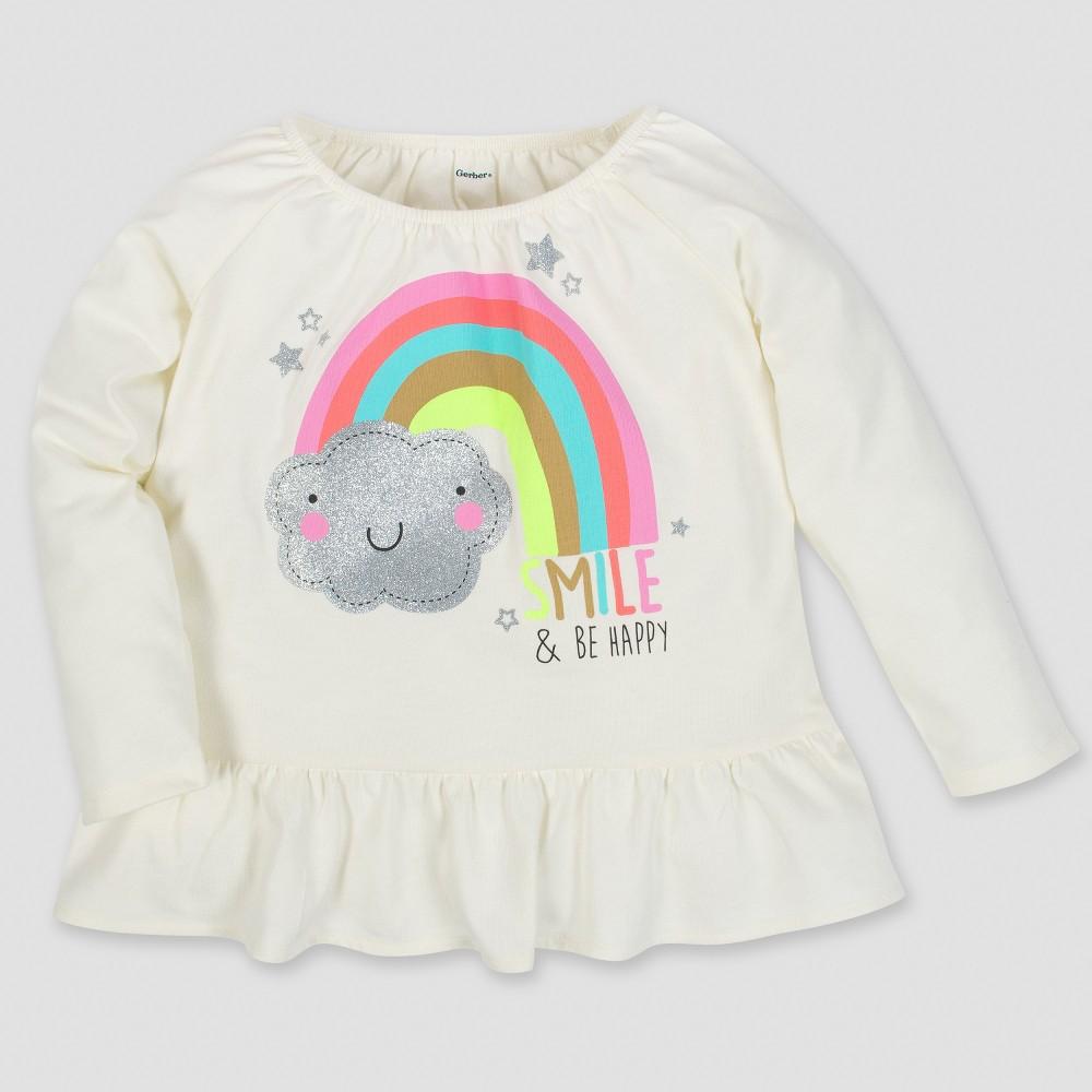 Gerber Toddler Girls' Long Sleeve Rainbow Top - Cream 3T, Beige
