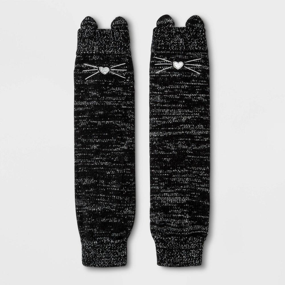 Image of Girls' Silver Lurex Legwarmer Socks - Cat & Jack Black One Size, Girl's
