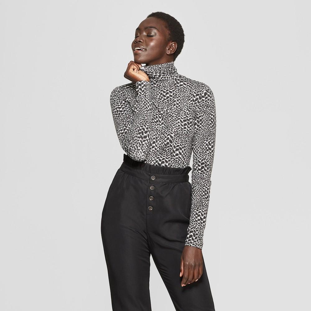 Women's Leopard Print Long Sleeve Turtle Neck - Who What Wear Gray XL