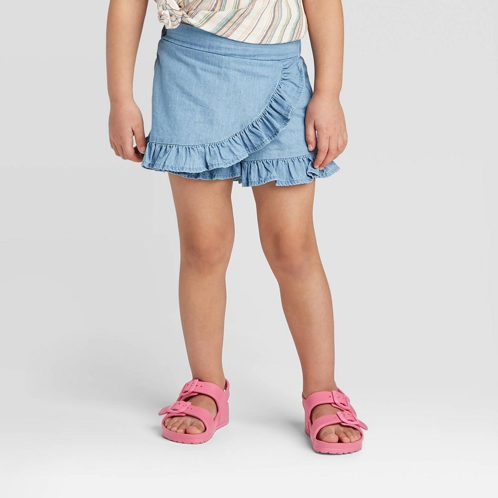Image of Toddler Girls' Denim Ruffle Skort - art class Blue 12M, Toddler Girl's