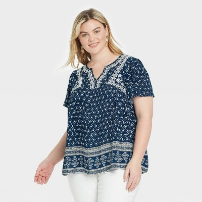 Women's Printed Short Sleeve Embroidered Top - Knox Rose™