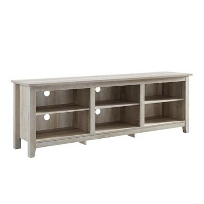 70  Wood Media TV Stand Storage Console White Oak - Saracina Home