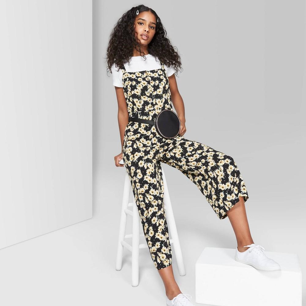 Women's Floral Print Strappy Button Front Jumpsuit - Wild Fable Black M
