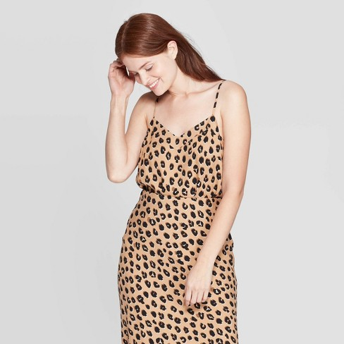 Women's Animal Print V-Neck Tank Top - A New Day™ Light Brown  - image 1 of 3