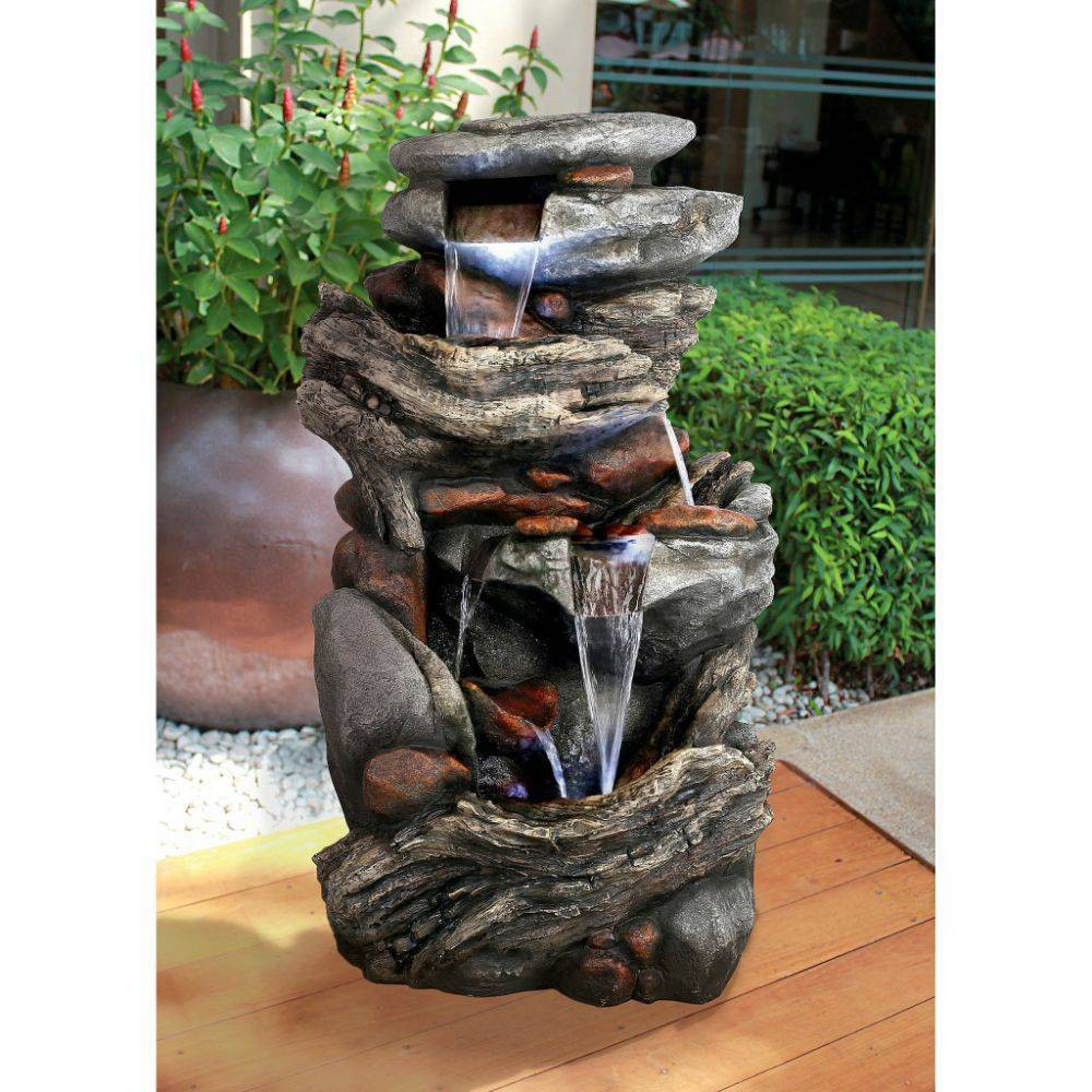 Image of Cathedral Rocks Cascading Waterfall Garden Fountain - Acorn Hollow