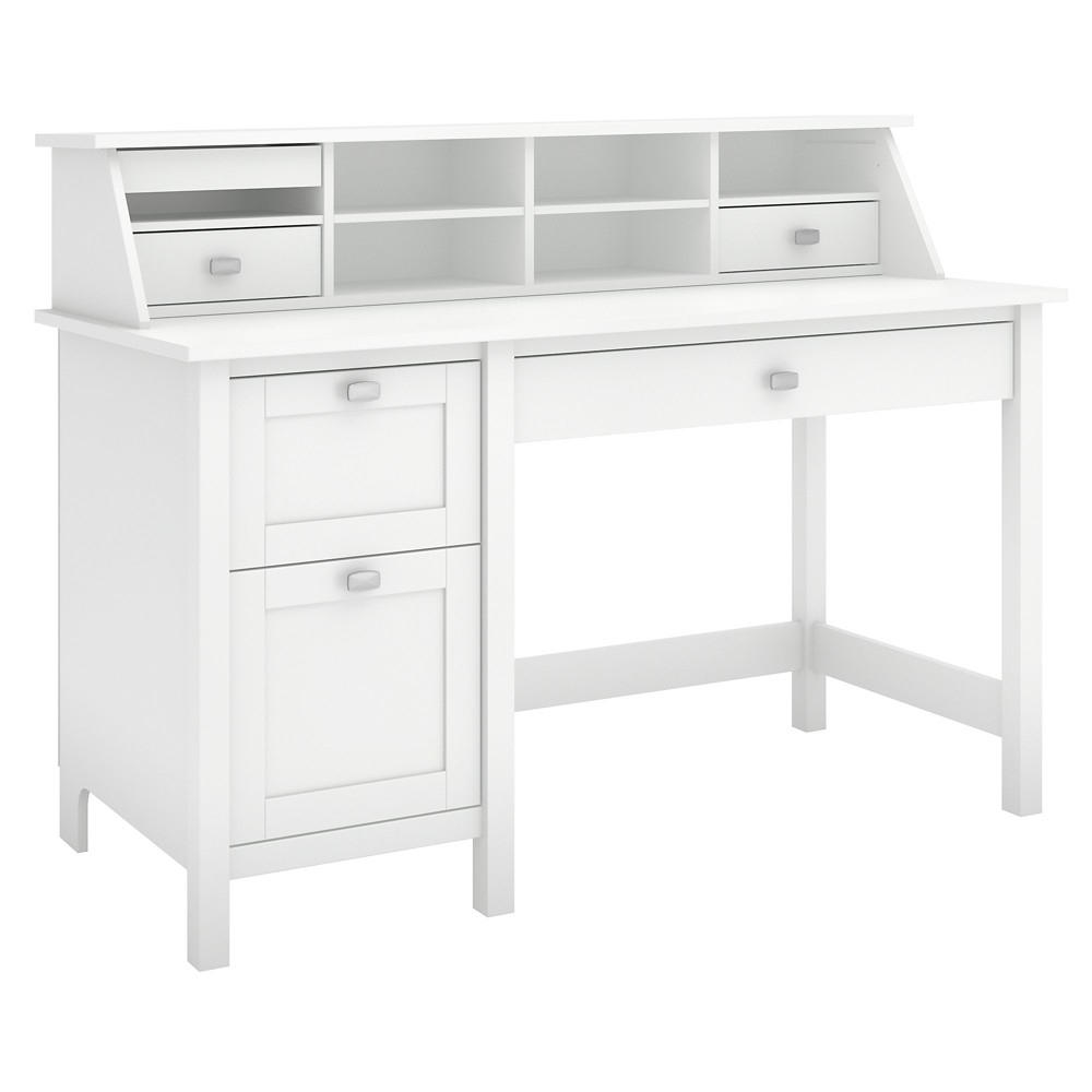Broadview Computer Desk With 2 Drawer Pedestal And Organizer Pure White - Bush Furniture Broadview Computer Desk With 2 Drawer Pedestal And Organizer Pure White - Bush Furniture