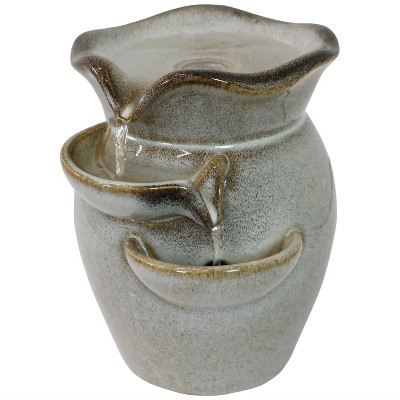 """8""""H Ceramic Cascading Side Tiers Indoor Tabletop Water Fountain - Sunnydaze Decor"""