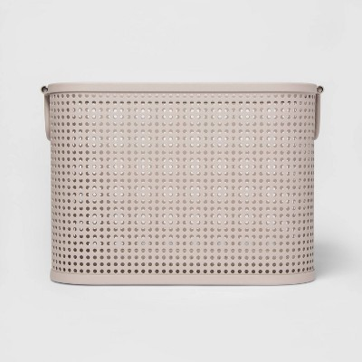 Small Milkcrate Metal Bin With Powder Coated Finish, Attached Handle and Mesh Bottom Light Gray - Project 62™