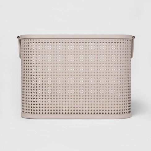 Small Milkcrate Metal Bin With Powder Coated Finish, Attached Handle and Mesh Bottom Light Gray - Project 62™ - image 1 of 3