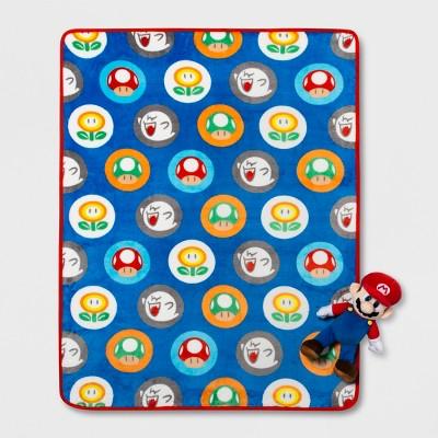Mario 2pc 40 x60  Hat Toss Throw Blanket & Pillow Set