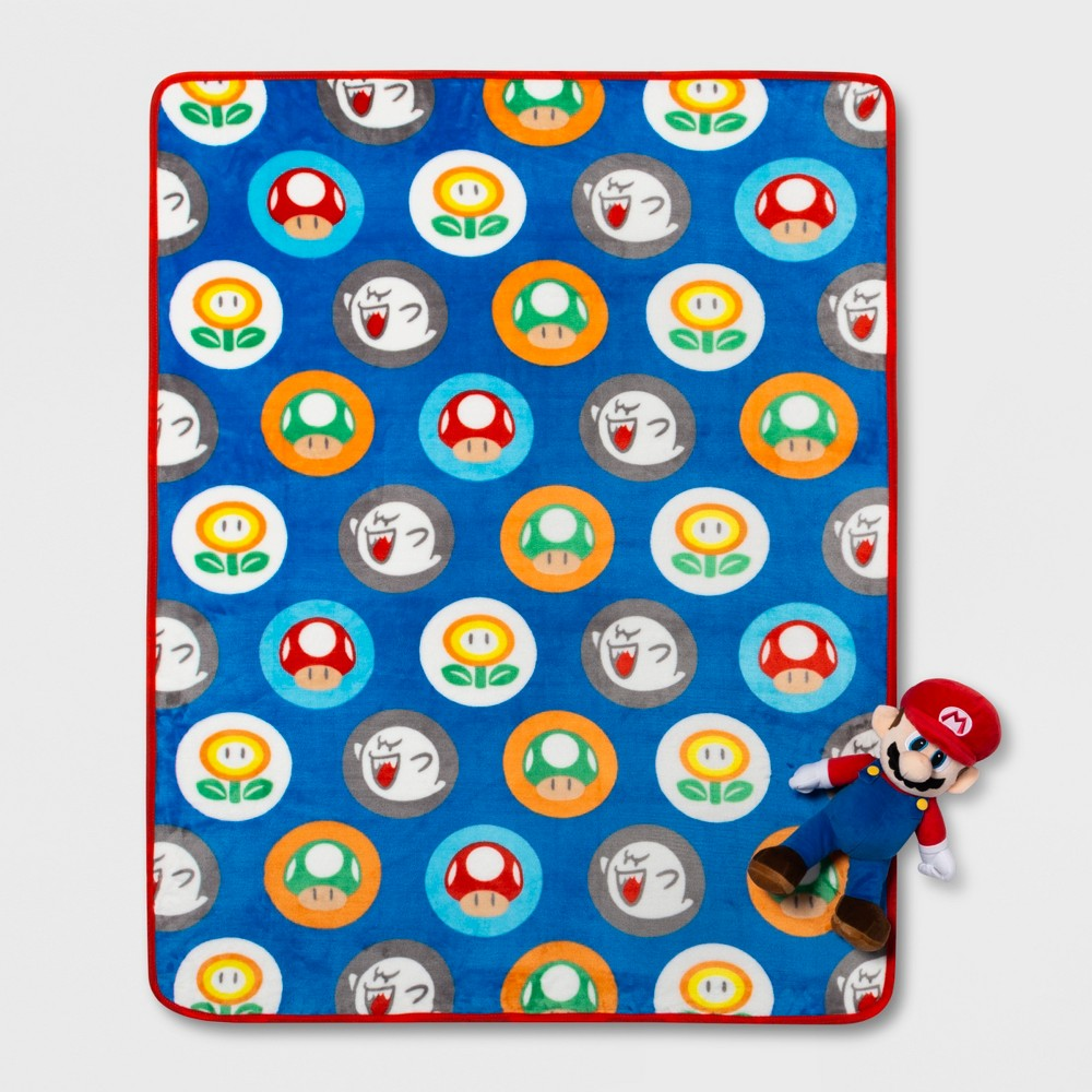 "Image of ""Mario 2pc 40""""x60"""" Hat Toss Throw Blanket & Pillow Set, Multi-Colored"""