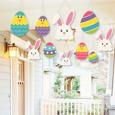 Big Dot of Happiness Hanging Hippity Hoppity - Outdoor Hanging Decor - Easter Bunny Party Decorations - 10 Pieces