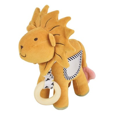 Tikiri Organic Lion Activity Toy with Teether, Mirror, Crinkle Sound and Squeaker