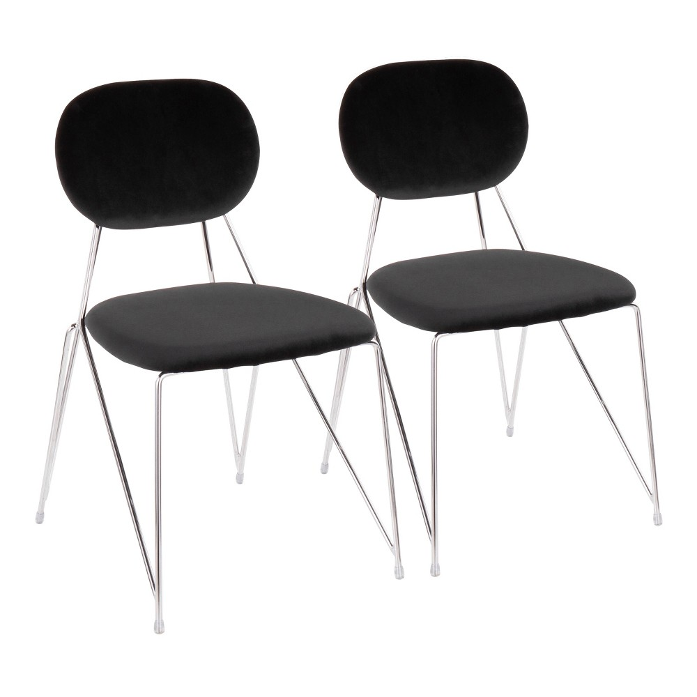 Set of 2 Gwen Contemporary Glam Chairs Black/Chrome (Black/Grey) - LumiSource